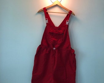 58fef0184f7b0 Vintage 1990s women's red shorts overalls maternity size large summer maternity  dungarees