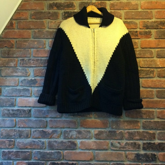 Vintage 1950s 1960s Hand Knit Wool Curling Sweate… - image 4