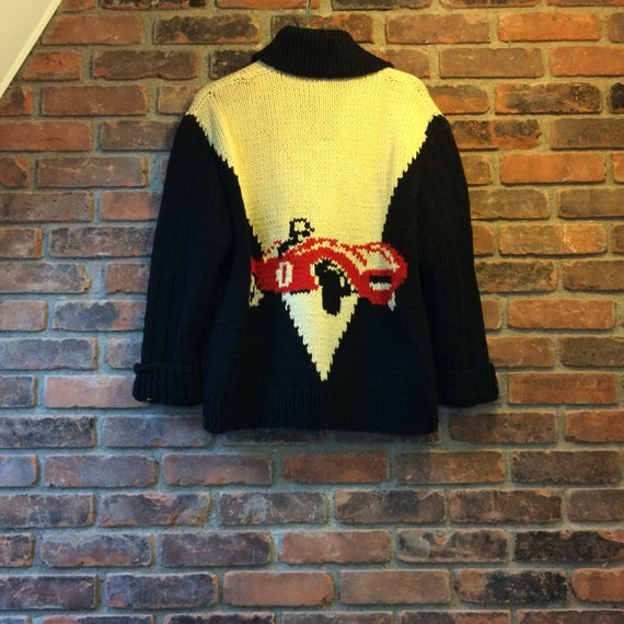 Vintage 1950s 1960s Hand Knit Wool Curling Sweate… - image 3