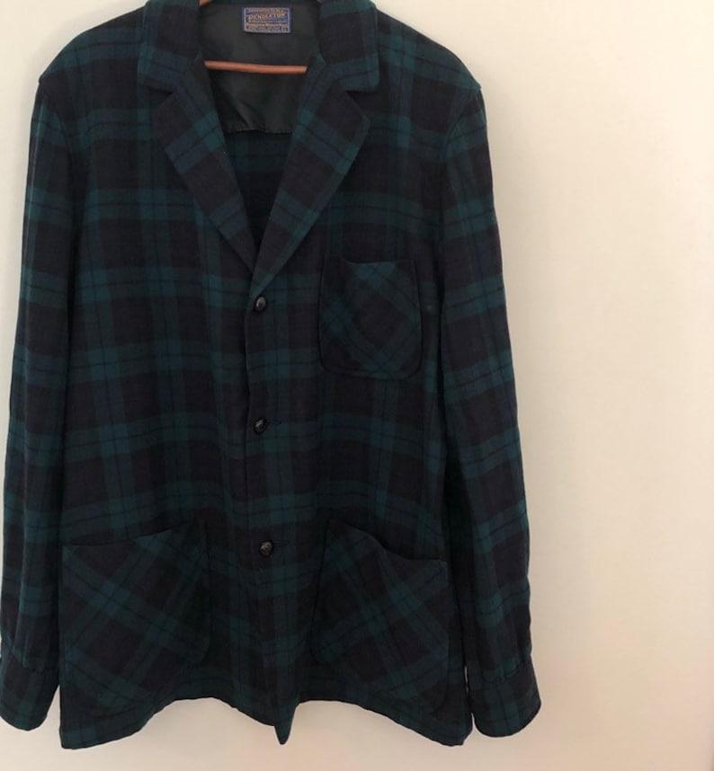 Vintage Pendleton plaid flannel blazer size large 42 green blue