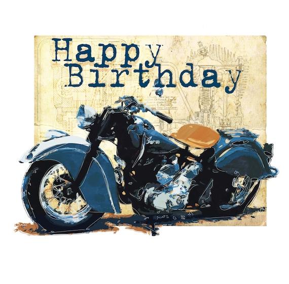 Motorbike Birthday Card Etsy