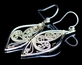 Handmade Lace Filigree Leaf Earrings with Butterly Inside, Custom Made to Order