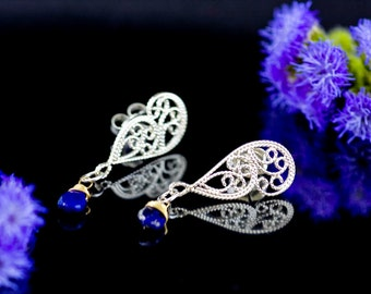 Handmade Lace Filigree Butterfly Wing Post Earrings, Custom Made to Order