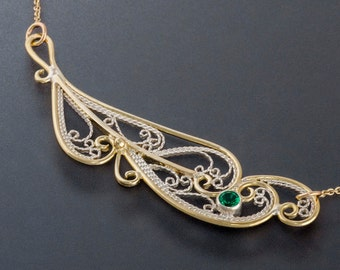 Handmade Lace Filigree Feather Pendant with Gold Frame, Custom Made to Order