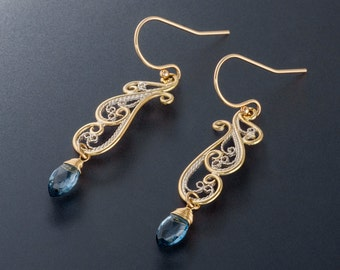 Art Nouveau Earrings with Gold Frame, Handmade Lace Filigree Custom Made to Order