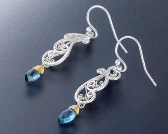 Handmade Lace Filigree Art Nouveau Swirl Earrings, Custom Made to Order