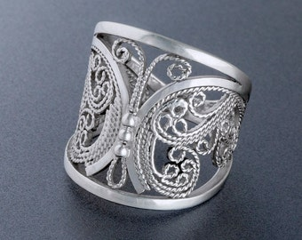 Handmade Lace Filigree Butterfly Ring, Custom Made to Order