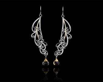 Handmade Lace Filigree Long Hanging Sterling Silver Feather Earrings with 14k Gold Stem, Custom Made to Order