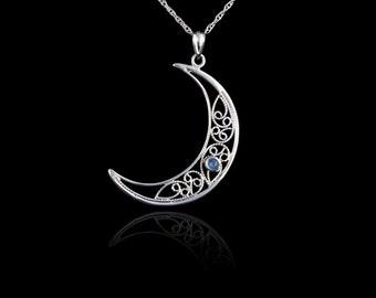 Handmade Lace Filigree Crescent Moon Pendant (large), Custom Made to Order