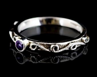 Handmade Lace Filigree Thin Band Ribbon Ring, Custom Made to Order