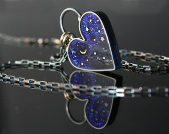 Hearts of Space Necklace,  Starry Night Heart Necklace by Jackie Taylor Designs