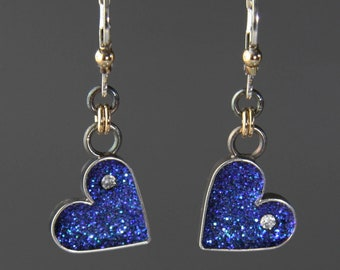 Tiny Blue Heart Earrings by Jackie Taylor Designs