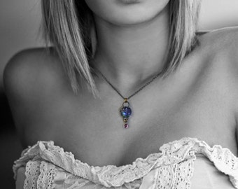 Starry Sapphire Night Sky Necklace, Stars in Sapphire Sky Pendant by Jackie Taylor Designs
