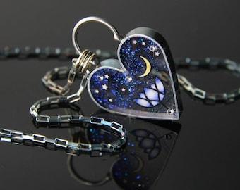 Lotus Heart Necklace, Lotus Moon & Star Necklace, Hearts of Space Lotus, Pliqué a Jour Lotus, by Jackie Taylor Designs