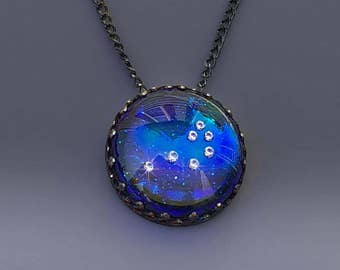 The Pleiades Necklace 7 Sisters Necklace Constellation Skymap Necklace in Glass by Jackie Taylor Designs