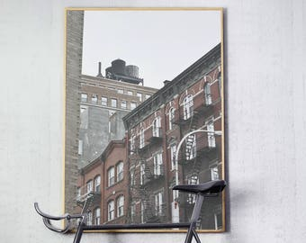 New York city photography print with the iconic fire ladders and water tanks