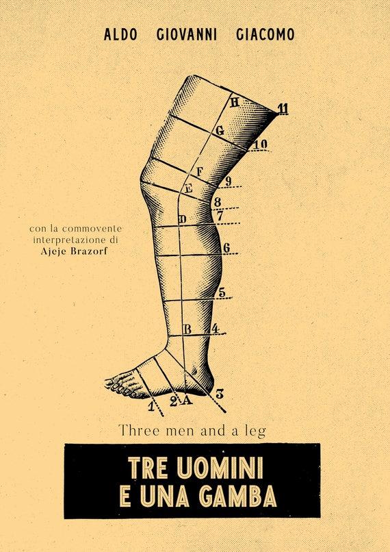 Tre Uomini E Una Gamba Poster Cinematografico Minimalista Etsy