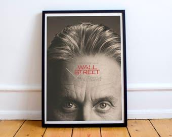 Wall Street - Museum Quality Movie Poster, classic Oliver Stone Fine Art Print, Gordon Gekko, Charlie Sheen