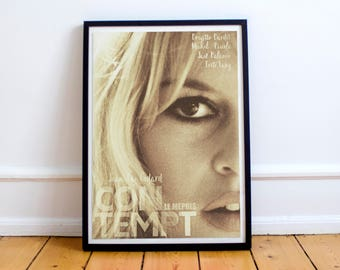Contempt (Le mépris), Jean Luc Godard, Brigitte Bardot, movie poster on museum paper, Fritz Lang, Raoul Coutard, fine art print