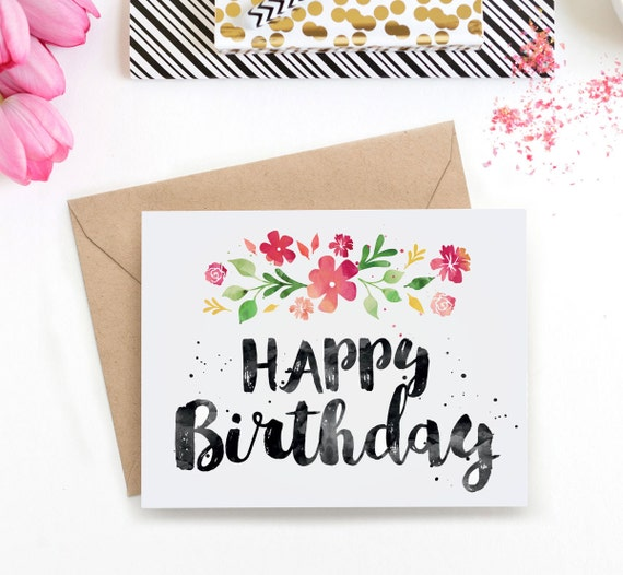 Watercolor Birthday Card Printable Birthday Card for Her