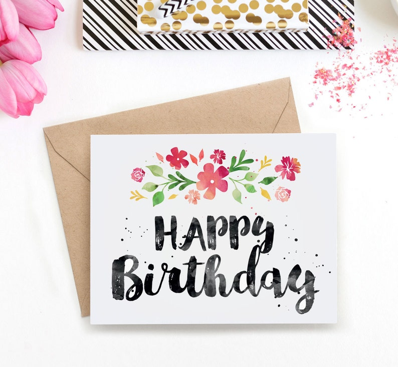 Printable Birthday Card For Her Happy Cute