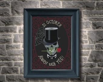Halloween stitch, victorian, skull, pdf cross stitch pattern, always with you pattern, skull in love, gothic rose, pdf download skull