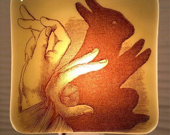 Bunny Rabbit Shadow Puppet Night Light Fused Glass