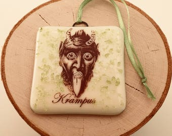 Krampus Christmas Ornament Fused Glass