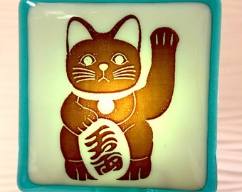 Lucky Cat Maneki Neko Night Light Fused Glass