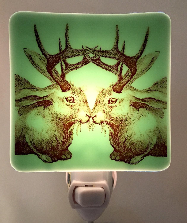 Jackalope Kiss Night Light Fused Glass Opaque Mint Green Glass