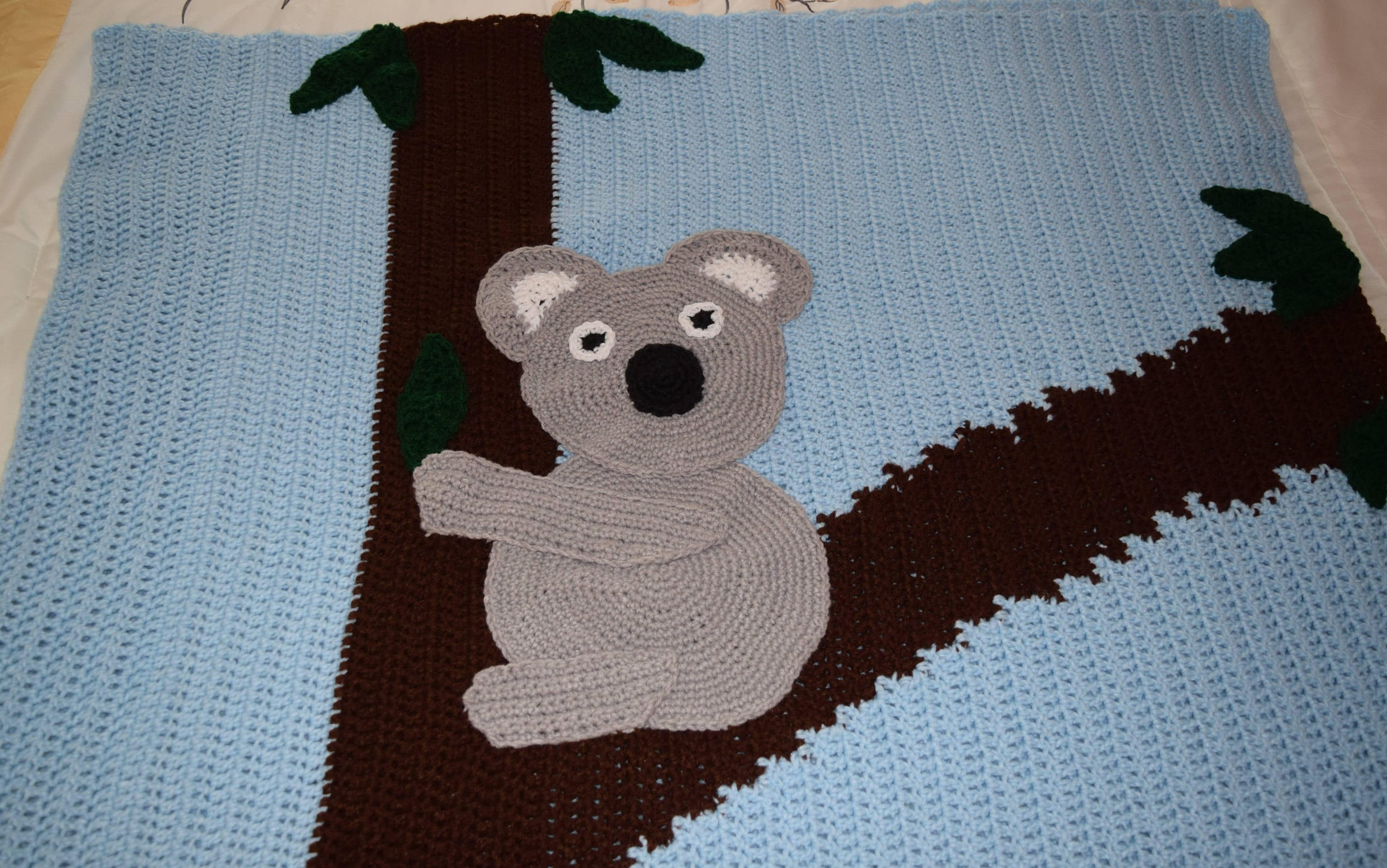 Koala In A Tree Blanket Crochet Blue Brown Gray And Forest