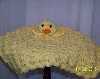 Duckie Head Lovey-yellow-hand crocheted