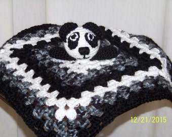 Panda bear security blanket-black and white  and black/gray variageted-crochet