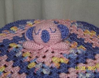 Koala bear security blanket in pink and purple-crochet