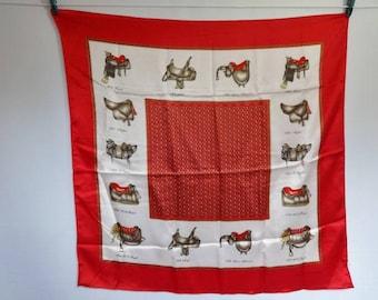 """Vintage Scarf equestrian Horse saddle Paris Jean Louis 90cm x 86cm / 35.4"""" x 33.8"""""""