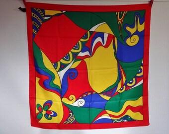 "Vintage Tie rack Abstract bright multi coloured Scarf shawl 77cm x 79cm / 30.3"" x 31.1"""
