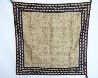 "Vintage Silk Jim Thompson Elephant scarf 80cm x 83cm / 31.4"" x 32.6"""