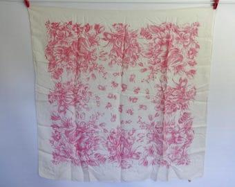 """Vintage Pink White Silk Flower Floral Scarf 33.4"""" x 34.6"""""""