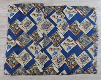 "Vintage Hipster Mens silk golf scarf 135cm x 31cm / 53.1"" x 12.2"""
