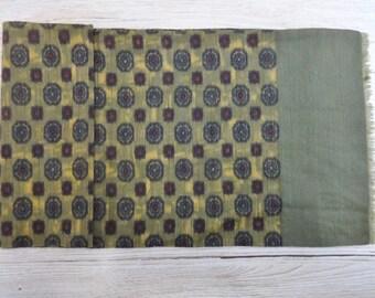 "Vintage Hipster Mens silk wool scarf 100cm x 24cm / 39.3"" x 9.4"""