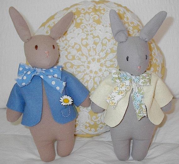 Bunny Pdf Sewing Pattern Easy Peter Rabbit Pattern Plush Etsy