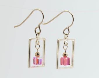 Pink Swarovski Crystal Frame Earrings / Sterling silver and crystal dangle earrings / October Tourmaline birthstone earrings / Gift for her