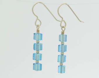 Aquamarine light blue swarovski crystal long dangle earrings in sterling silver for March birthstone gift