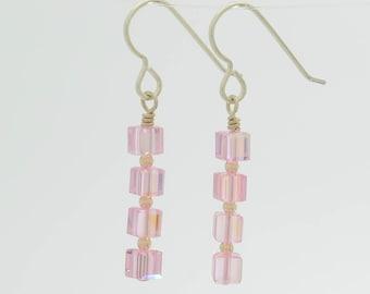 Light rose pink swarovski crystal long dangle earrings in sterling silver