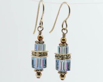 Light Purple Alexandrite Swarovski Crystal Squaredelle Earrings // June birthstone earrings // Special occasion earrings//Bridesmaid earring