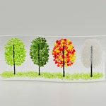 Fused Glass Four Season Trees, Shelf/Window Sill Art, Handmade
