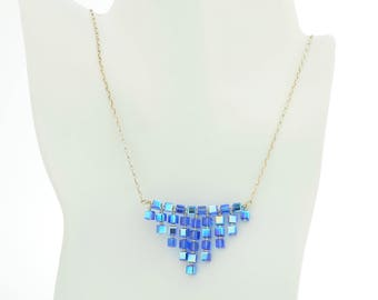 Sapphire blue swarovski crystal bib necklace in sterling silver for september birthstone gift wedding jewelry set or bridal party necklace