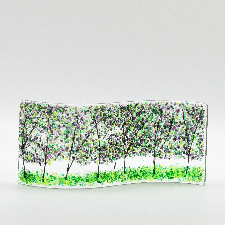 Shelf Windowsill Art Fused Glass Purple Pansy Flowers Handmade Votive