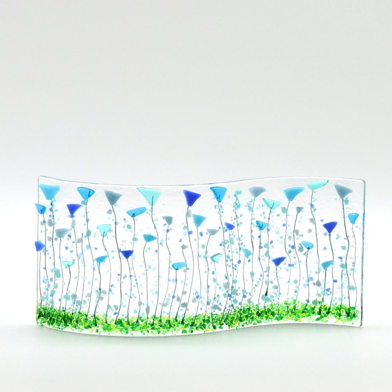 Fused Glass Blue Tulip/Balloon Flowers Shelf/Window Sill Art image 0