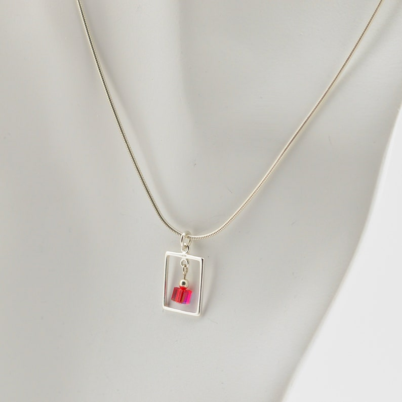 Ruby Red Swarovski Crystal Frame Necklace and Earrings Set image 0